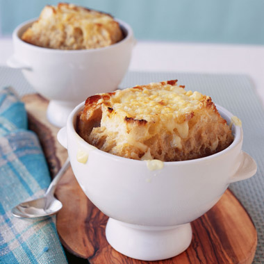 Onion Soup with Loads of Thyme and Giant Gruyere Crostini - Recipe ...