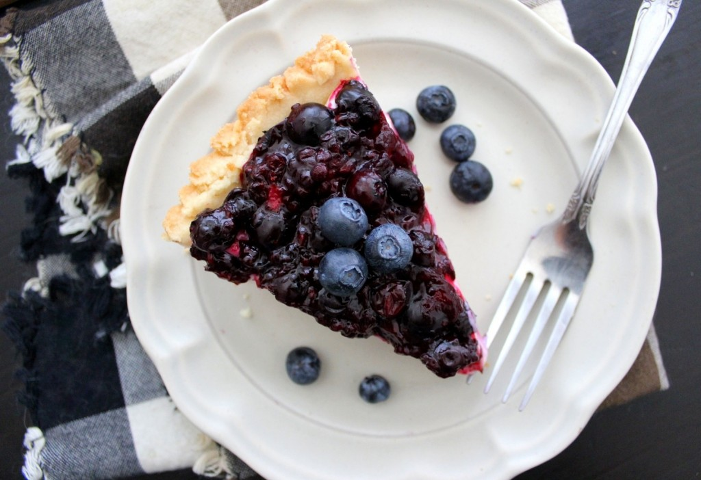 Blueberry-Cream Cheese Pie with Shortbread Crust - Recipe Hearth